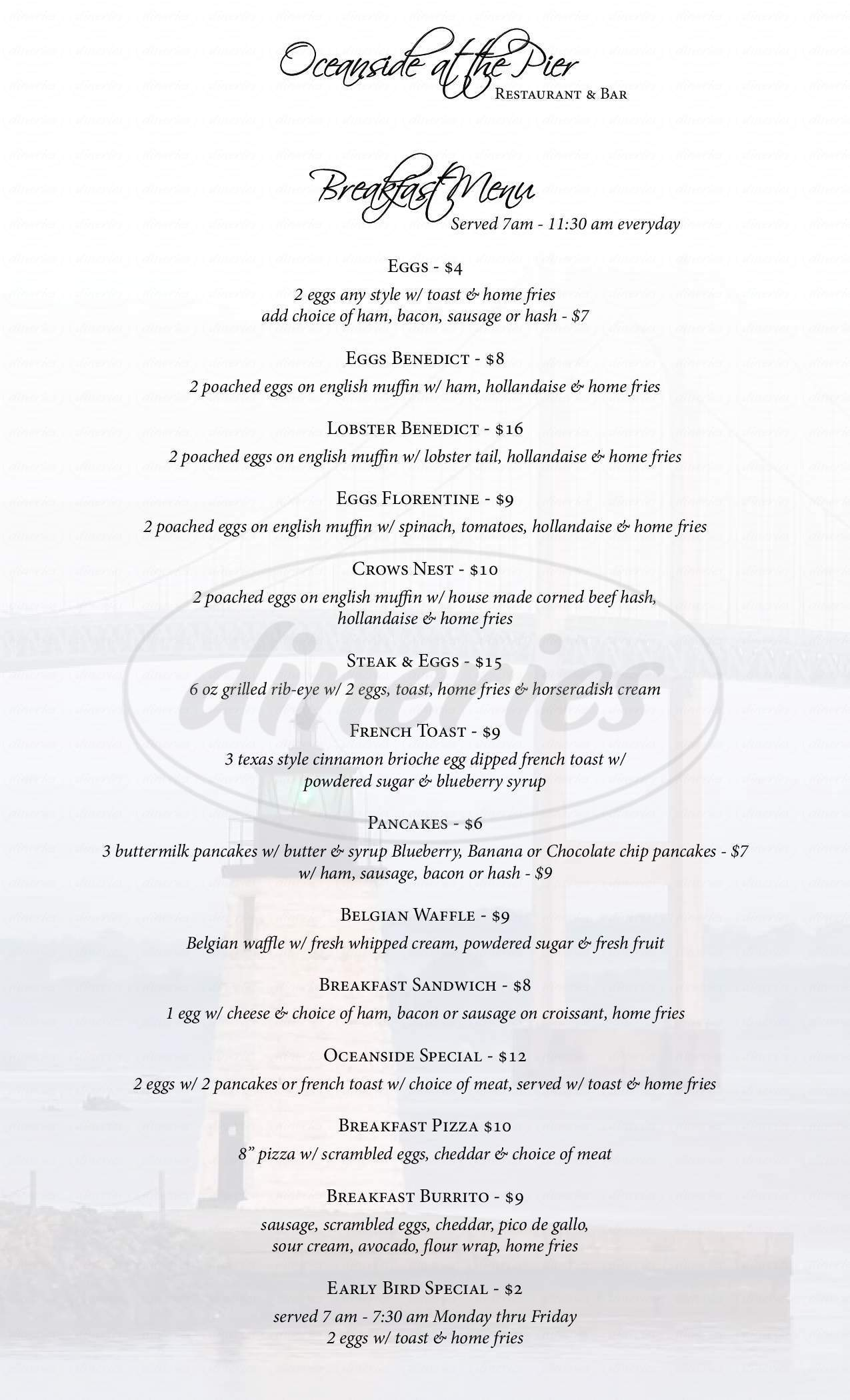 menu for Oceanside at the Pier
