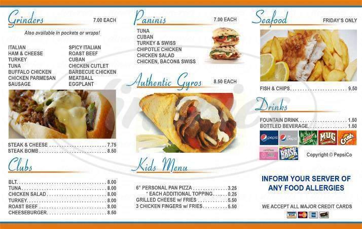 menu for Austin's Greek Oven