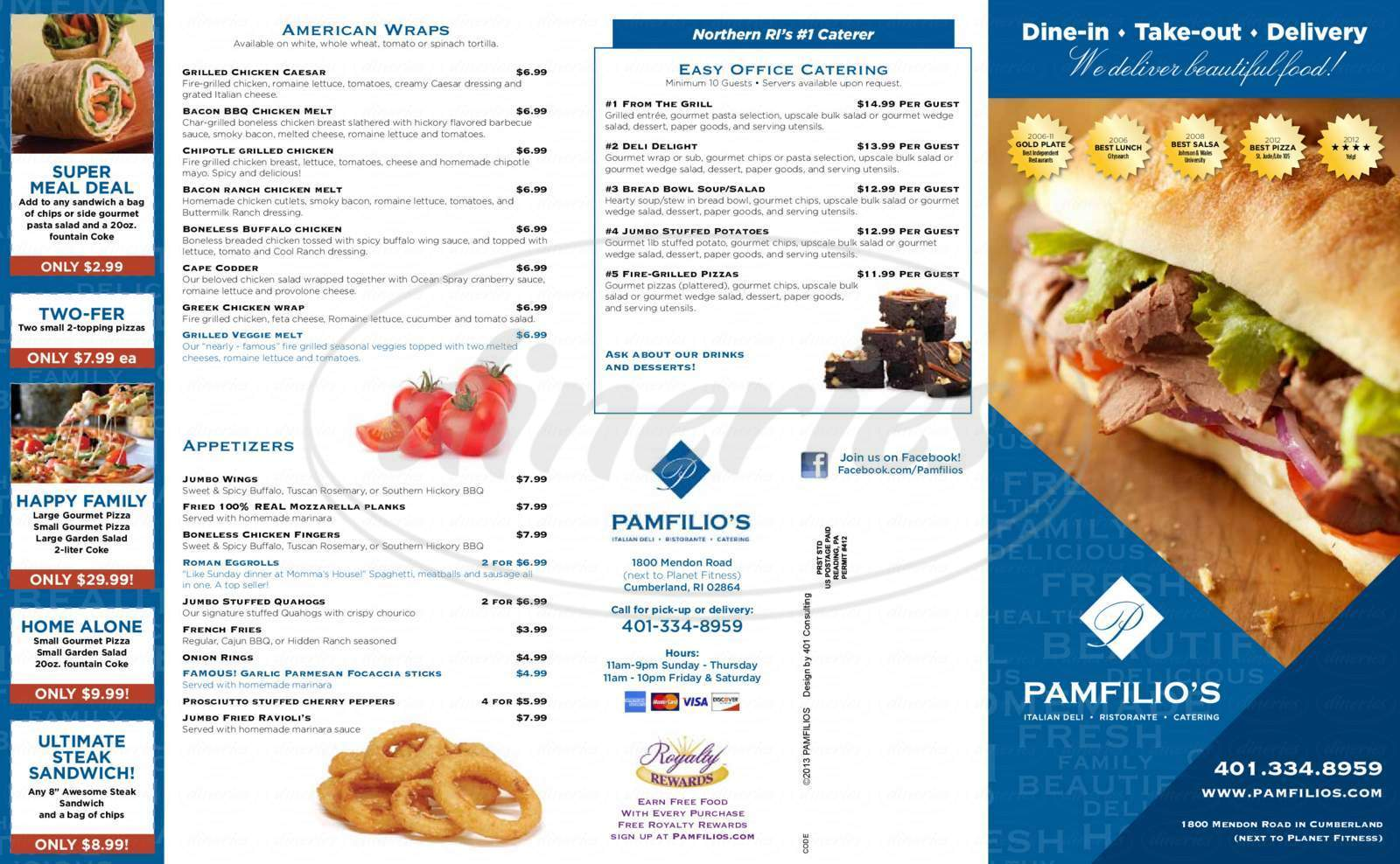 menu for Pamfilio's Italian Restaurant & Catering