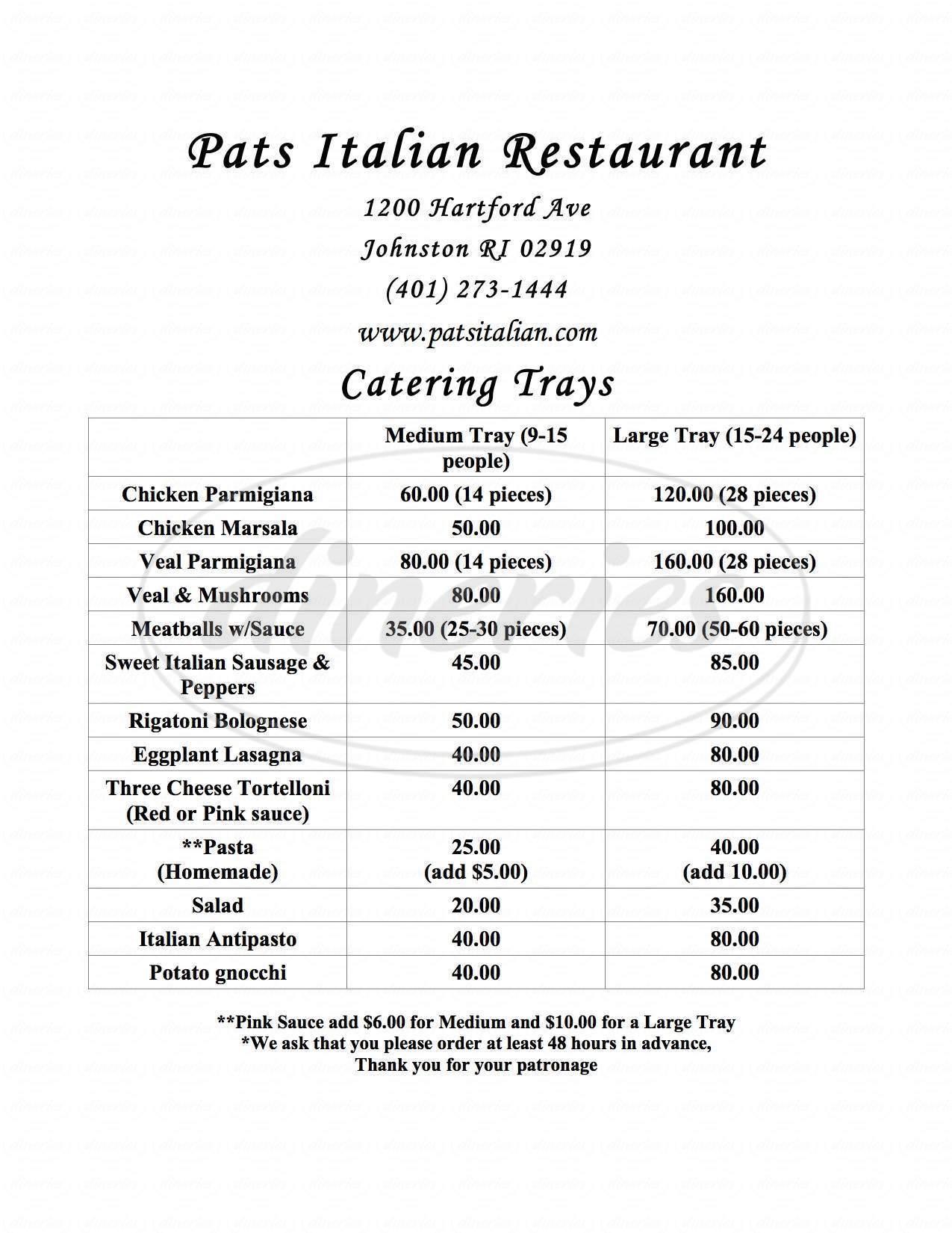 menu for Pat's Italian Restaurant