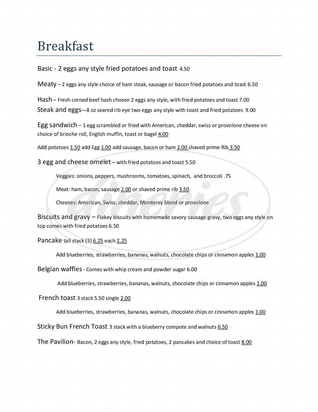 menu for Pavilion Steakhouse & Banquets