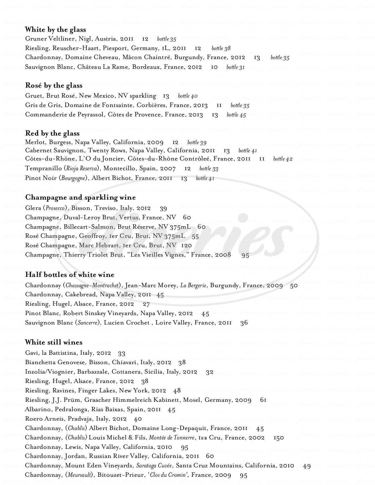 menu for Persimmon