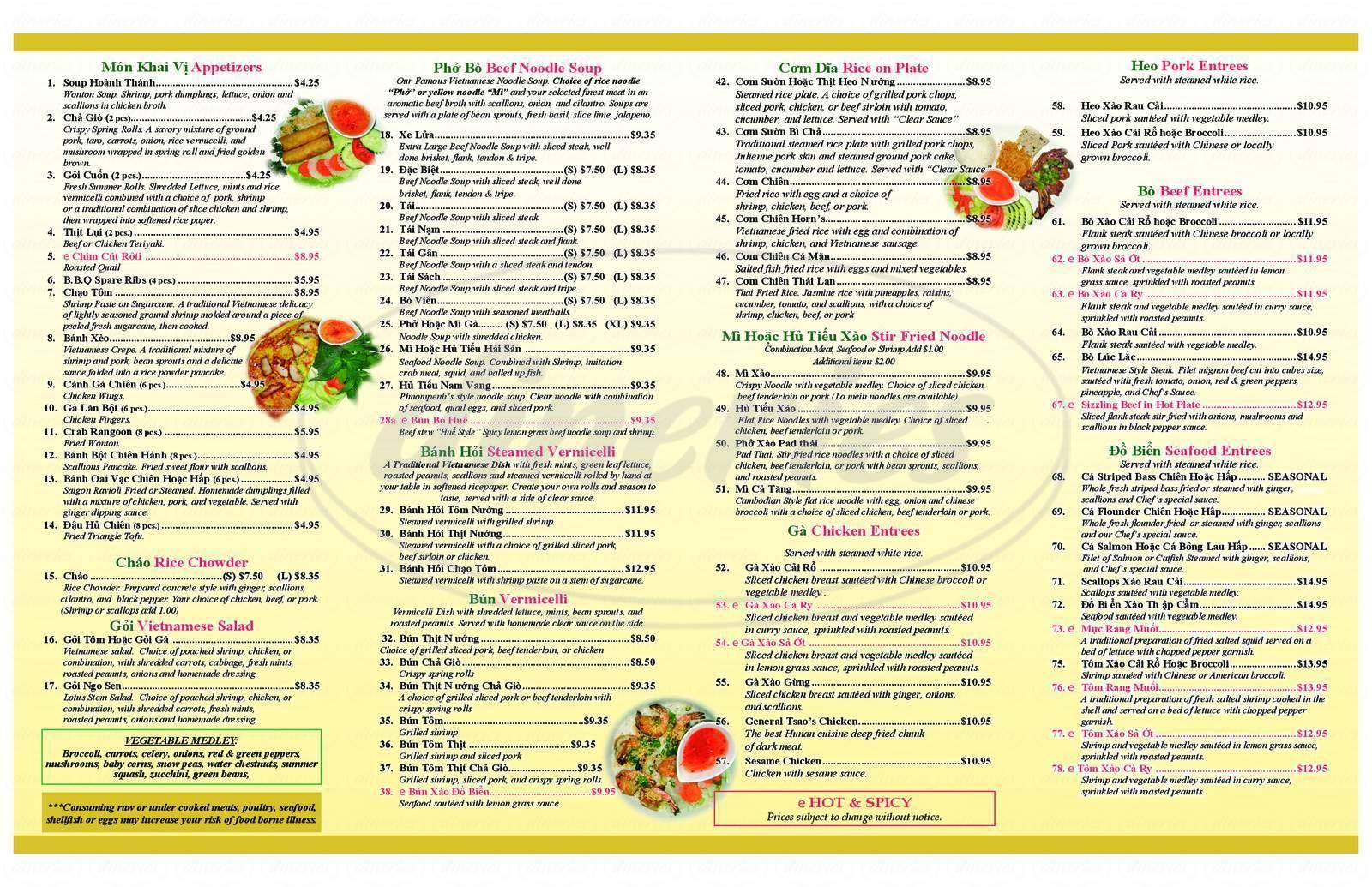 menu for Pho Horn's