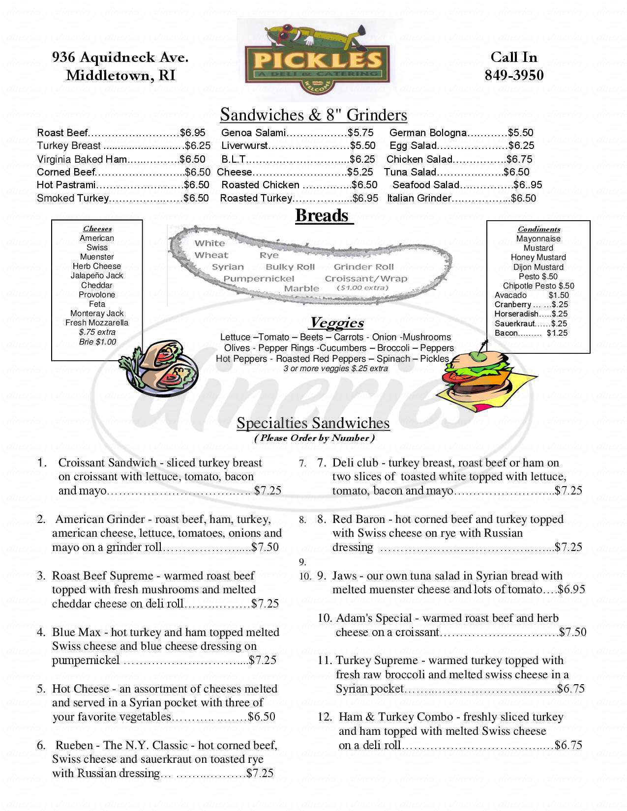 menu for Pickles-A Deli