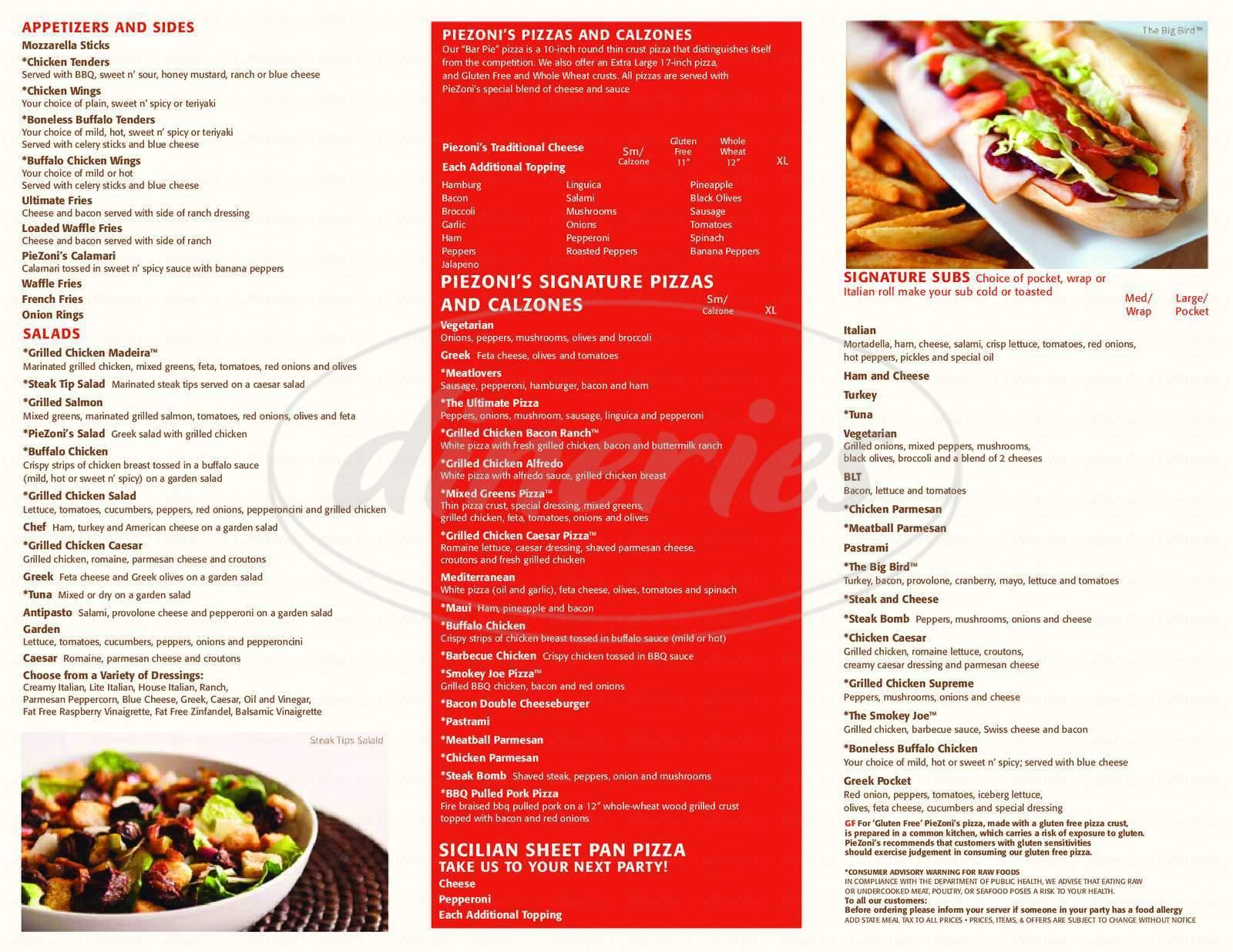 menu for Piezoni's
