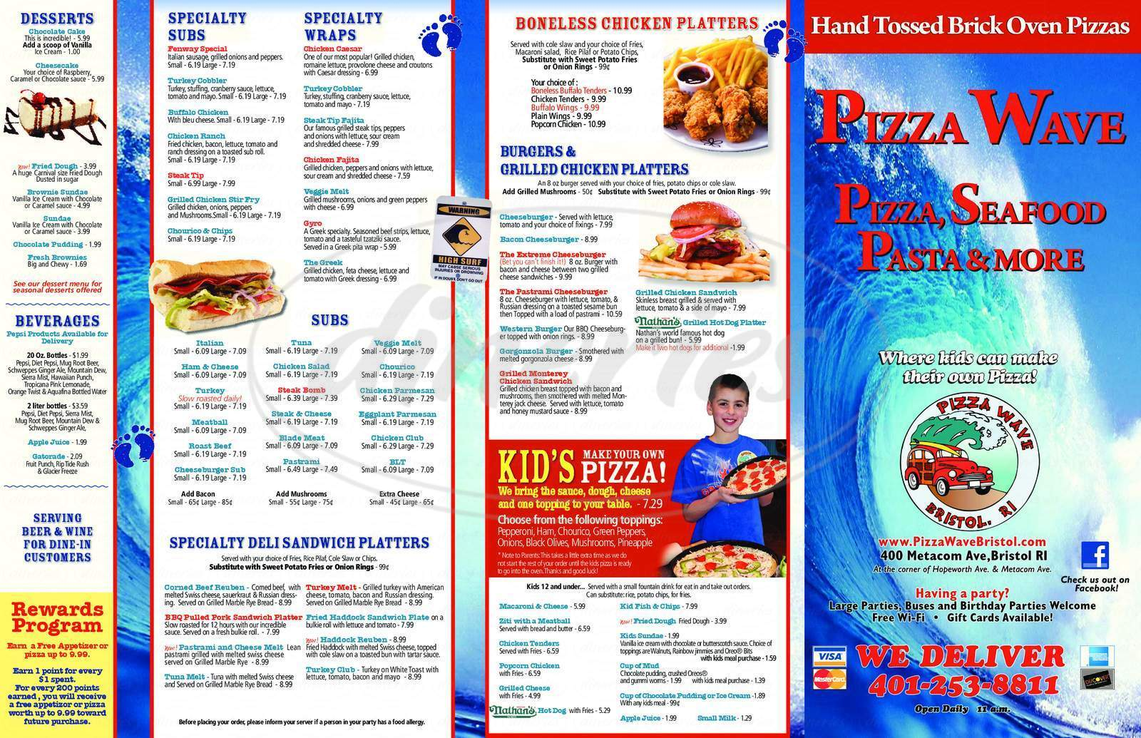 menu for Pizza Wave