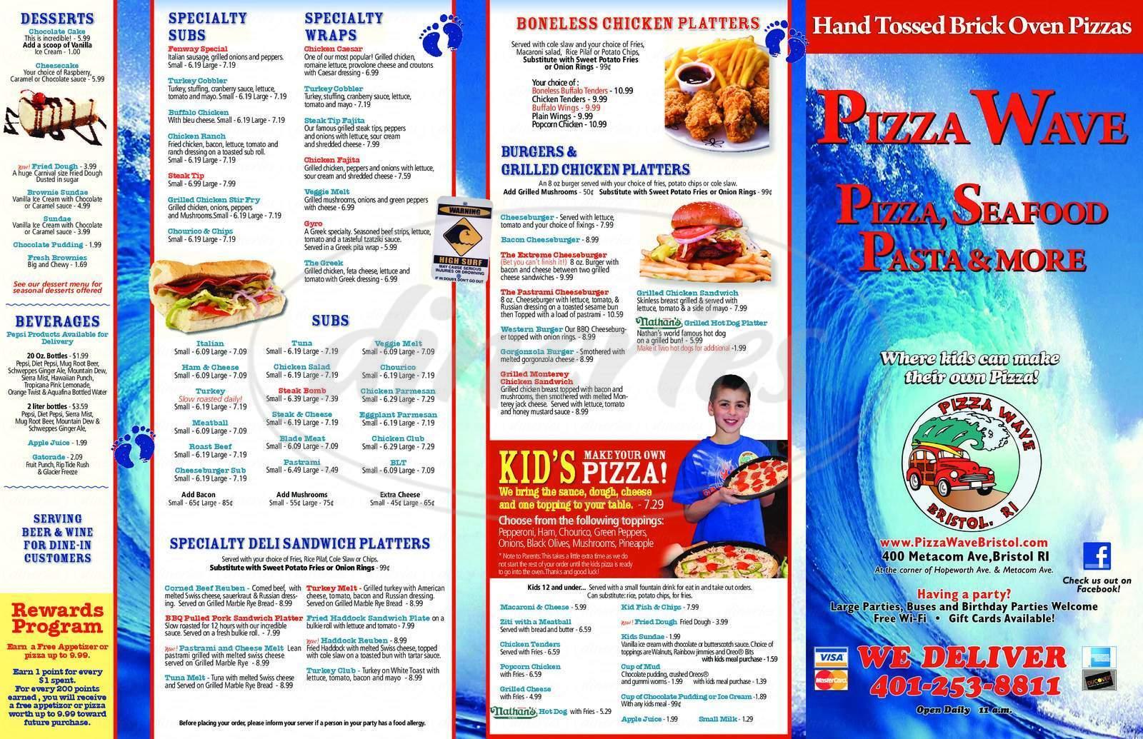 menu for Pizza Wave