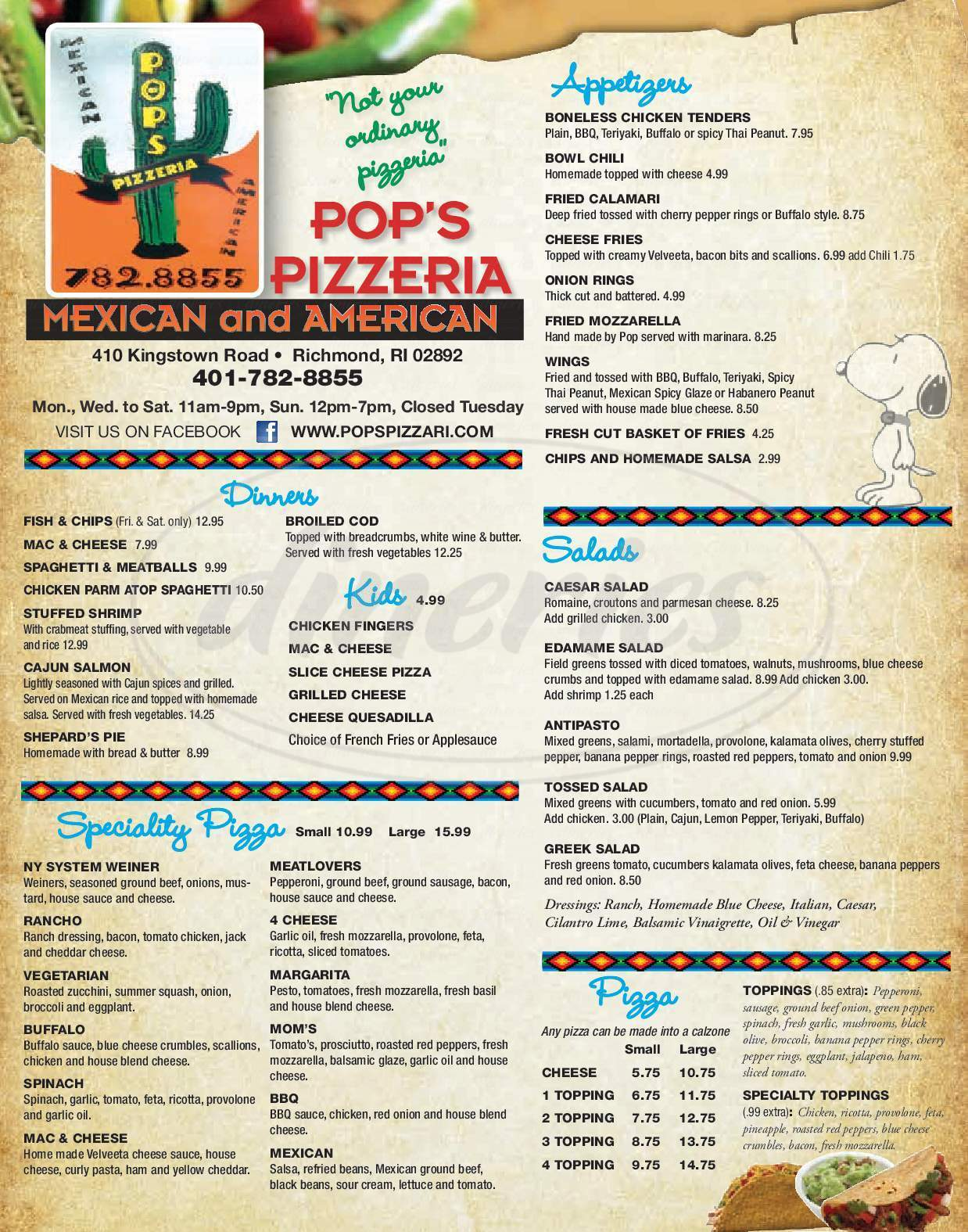 menu for Pop's Mexican Pizzaria