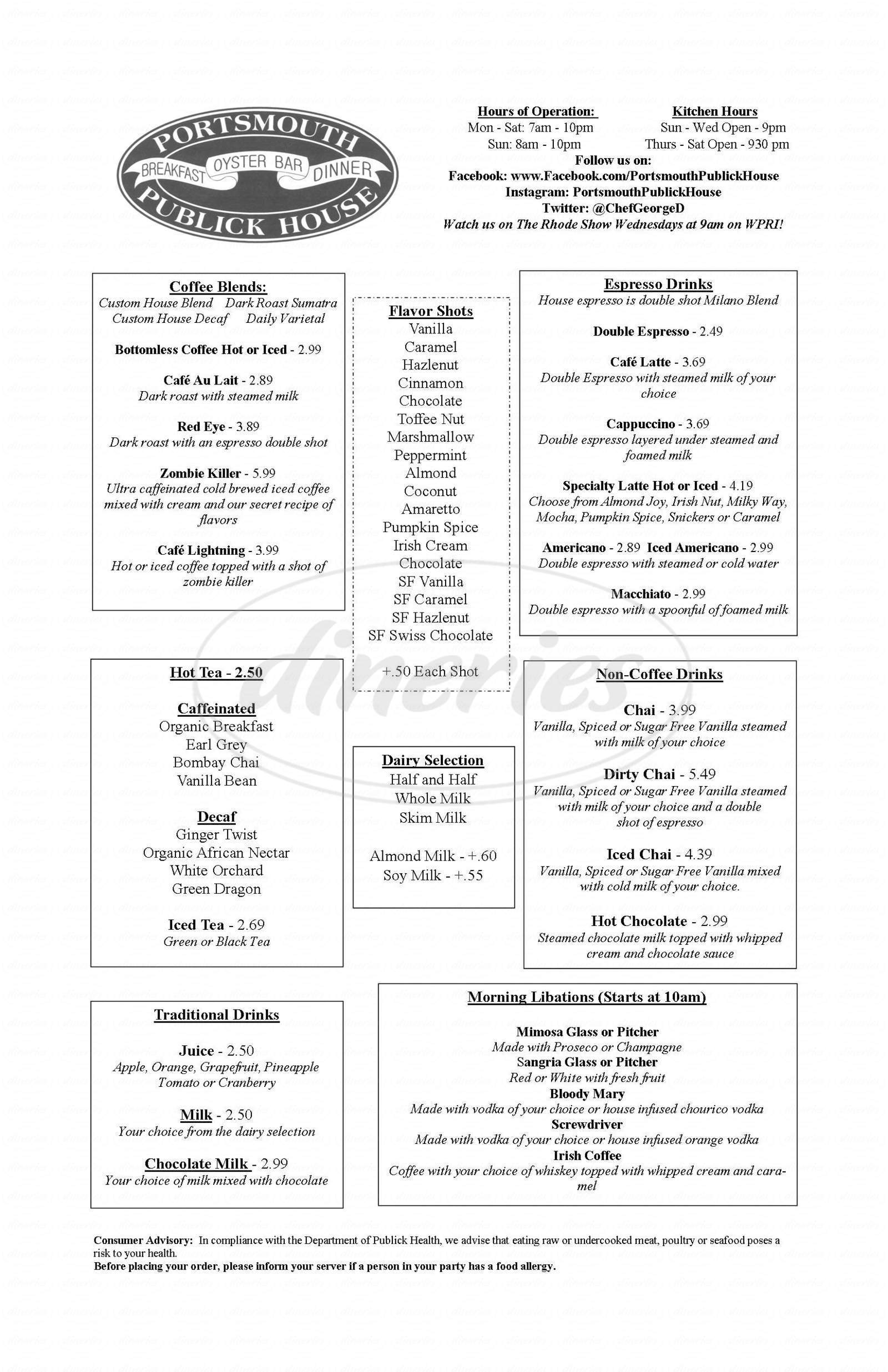 menu for Portsmouth Publick House
