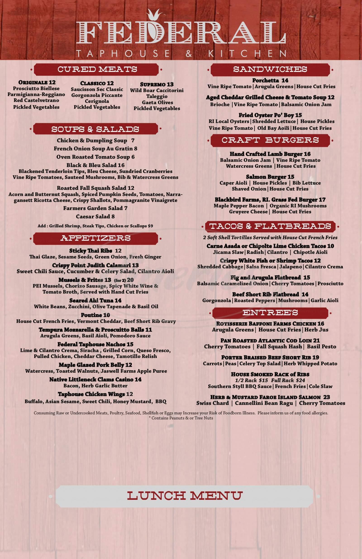 menu for Providence Prime