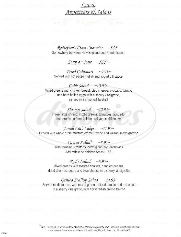 menu for Redlefsen's Rotisserie & Grill