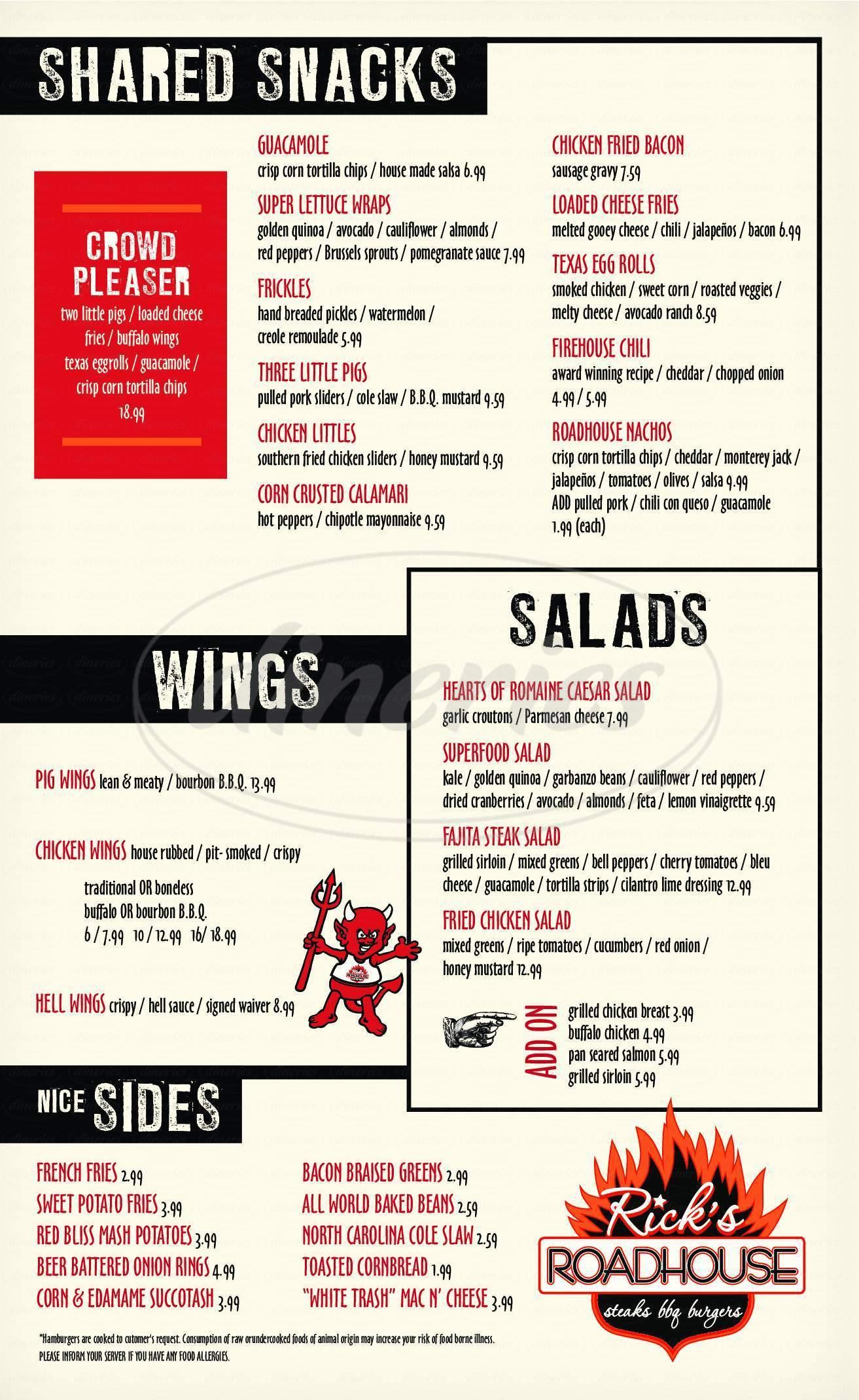 menu for Rick's Roadhouse