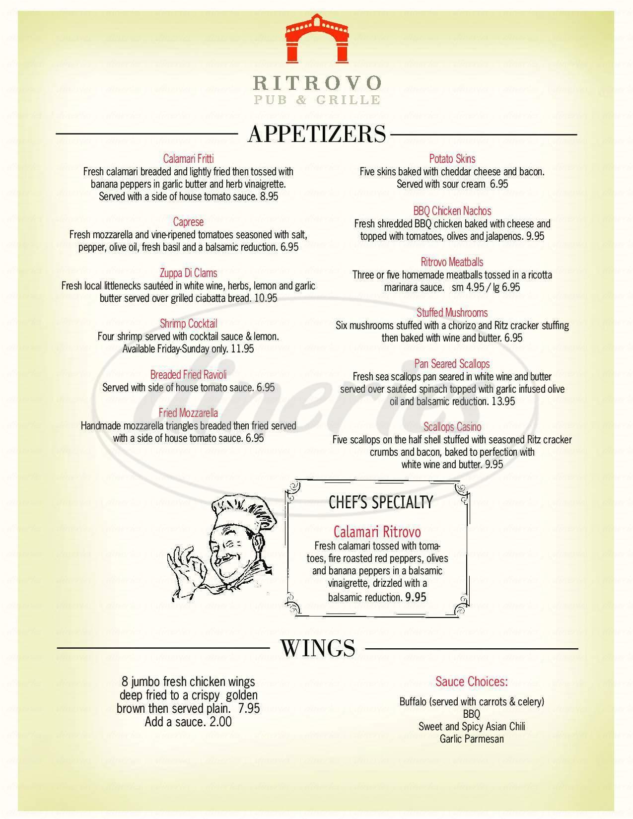 menu for Ritrovo Italian Pub & Grille