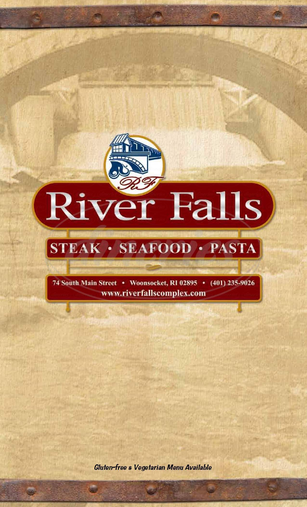 menu for River Falls Restaurant & Lounge