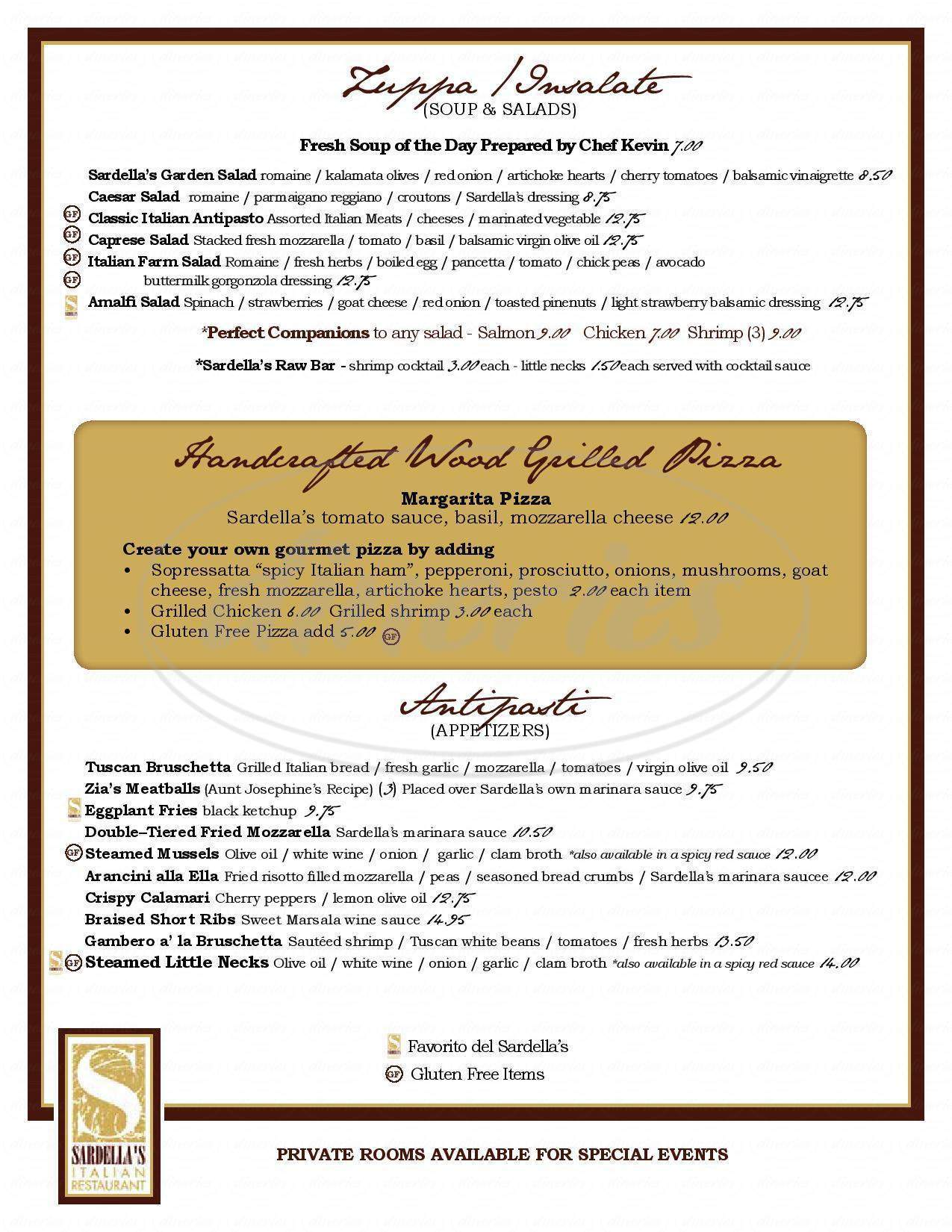 menu for Sardella's Italian Restaurant