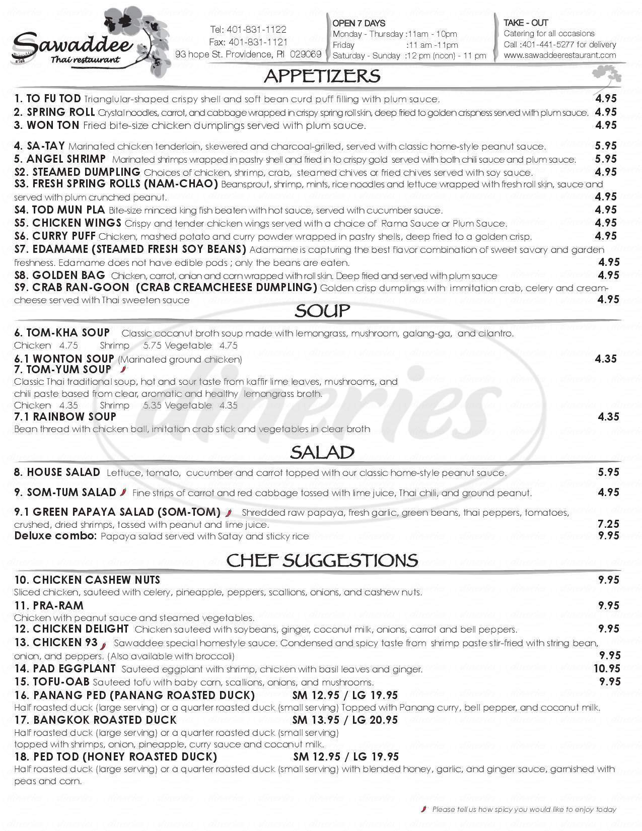 menu for Sawaddee Thai Restaurant