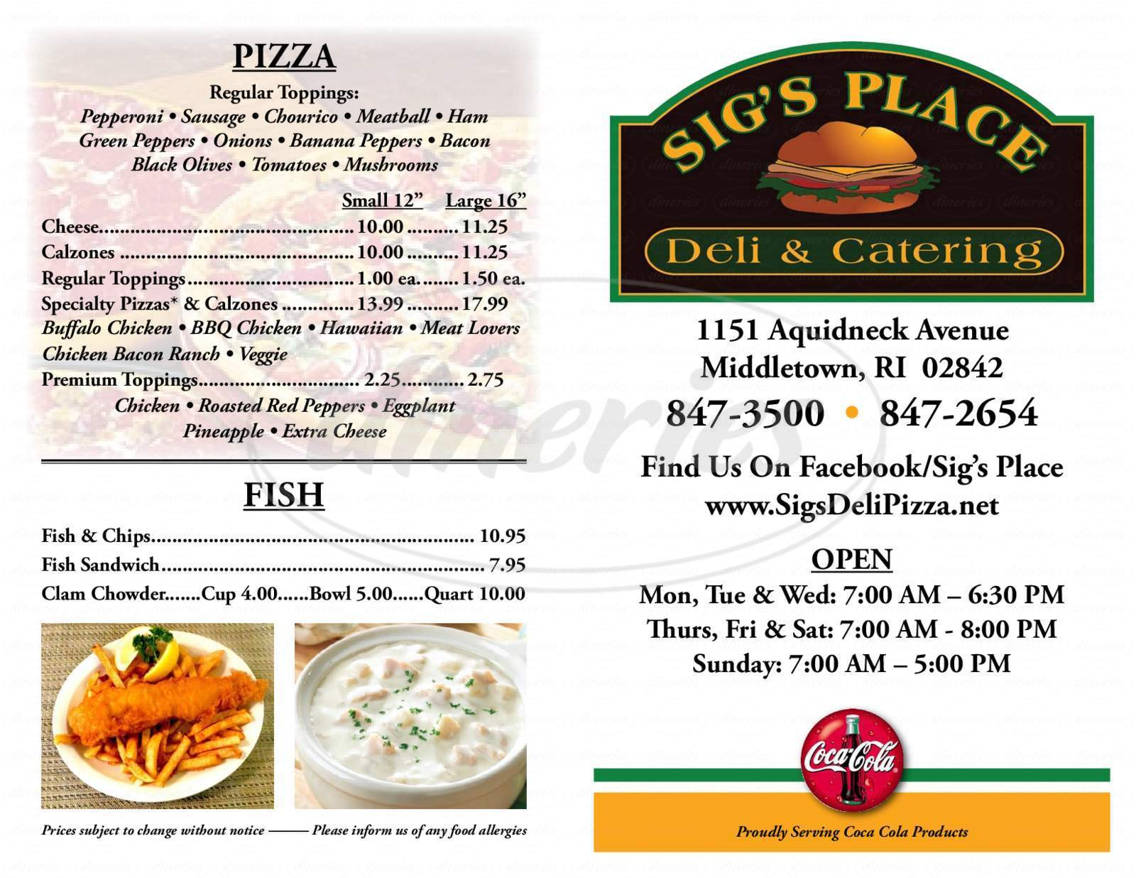menu for Sig's Place
