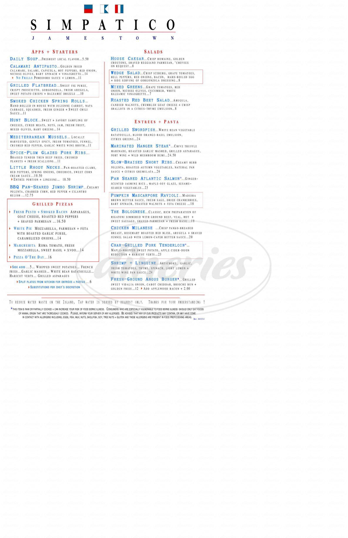menu for Trattoria Simpatico