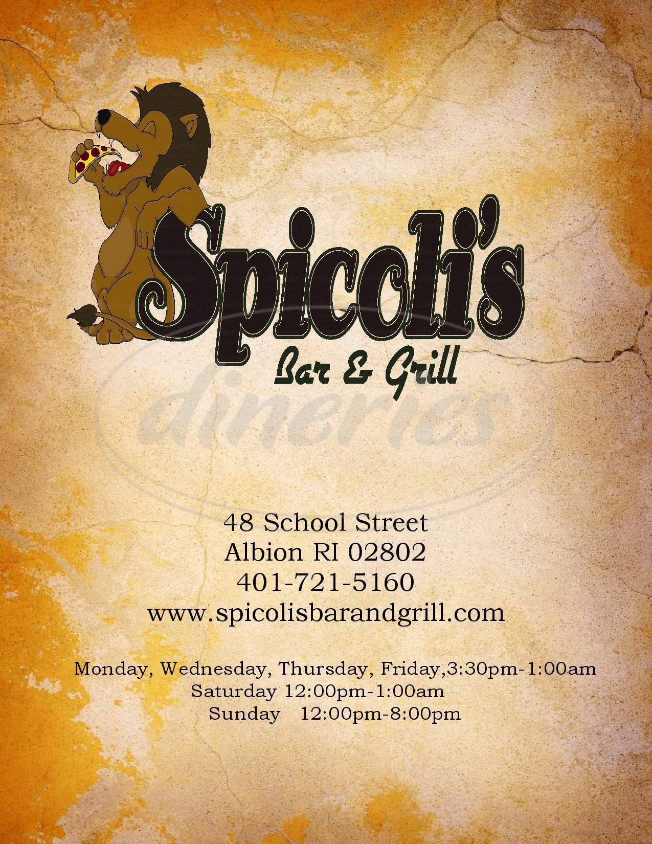 menu for Spicoli's Bar & Grill