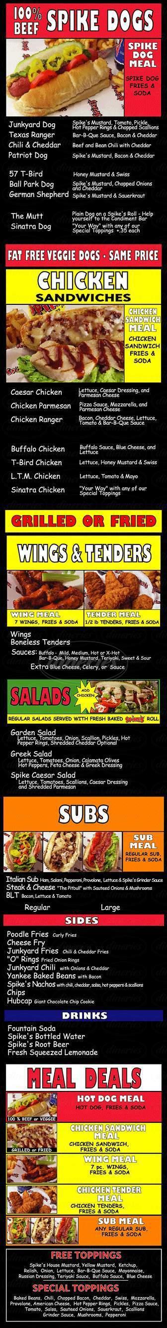 menu for Spike's Junkyard Dogs