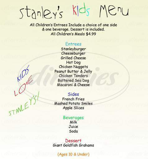 menu for Stanley's Restaurant
