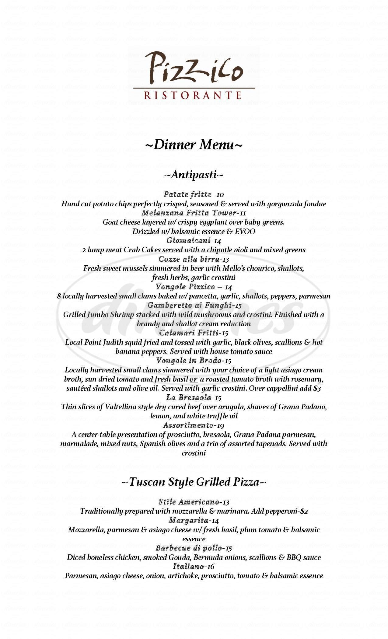 menu for Pizzico Ristorante