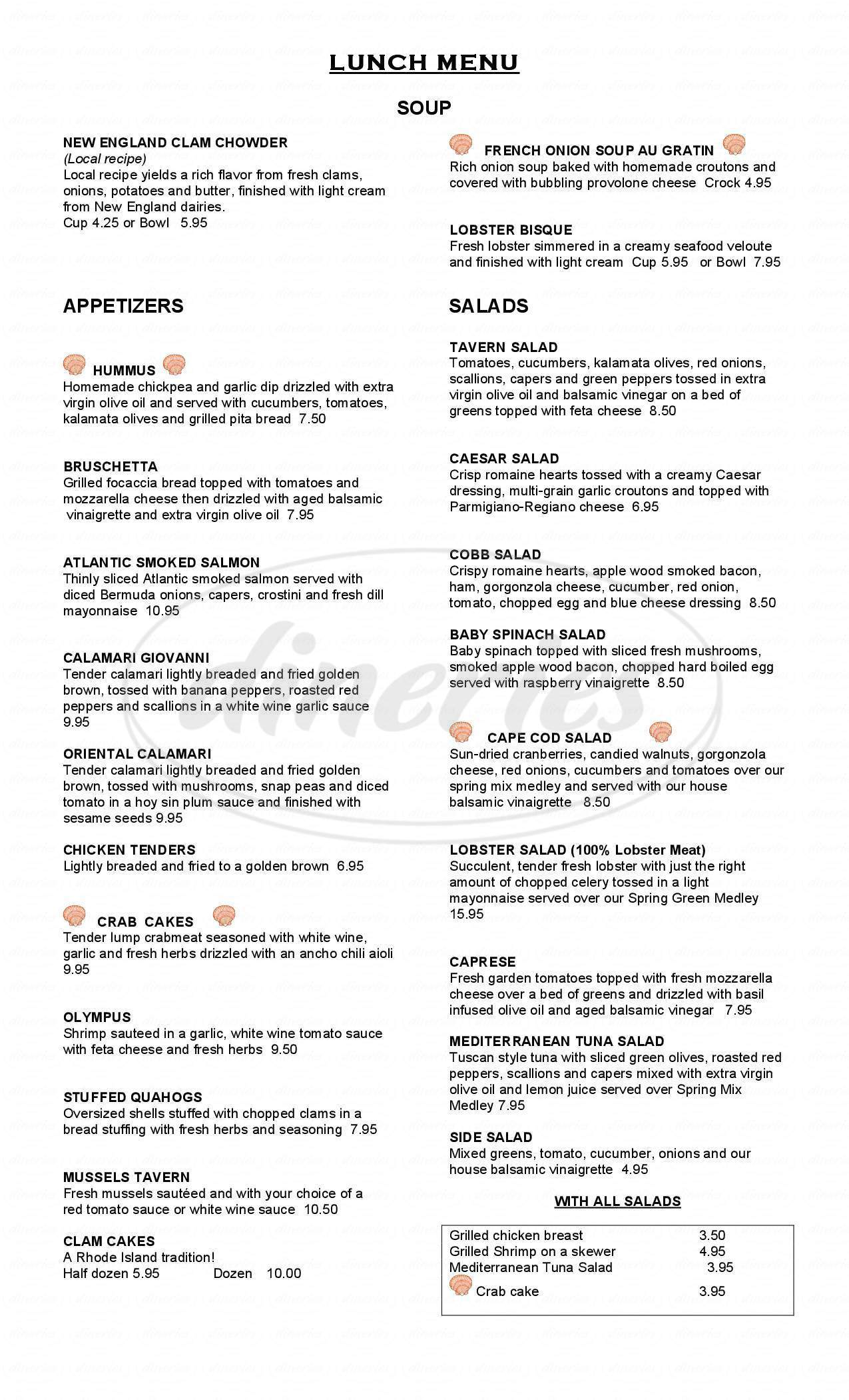 menu for Tavern By The Sea