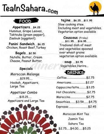 menu for Tea In Sahara