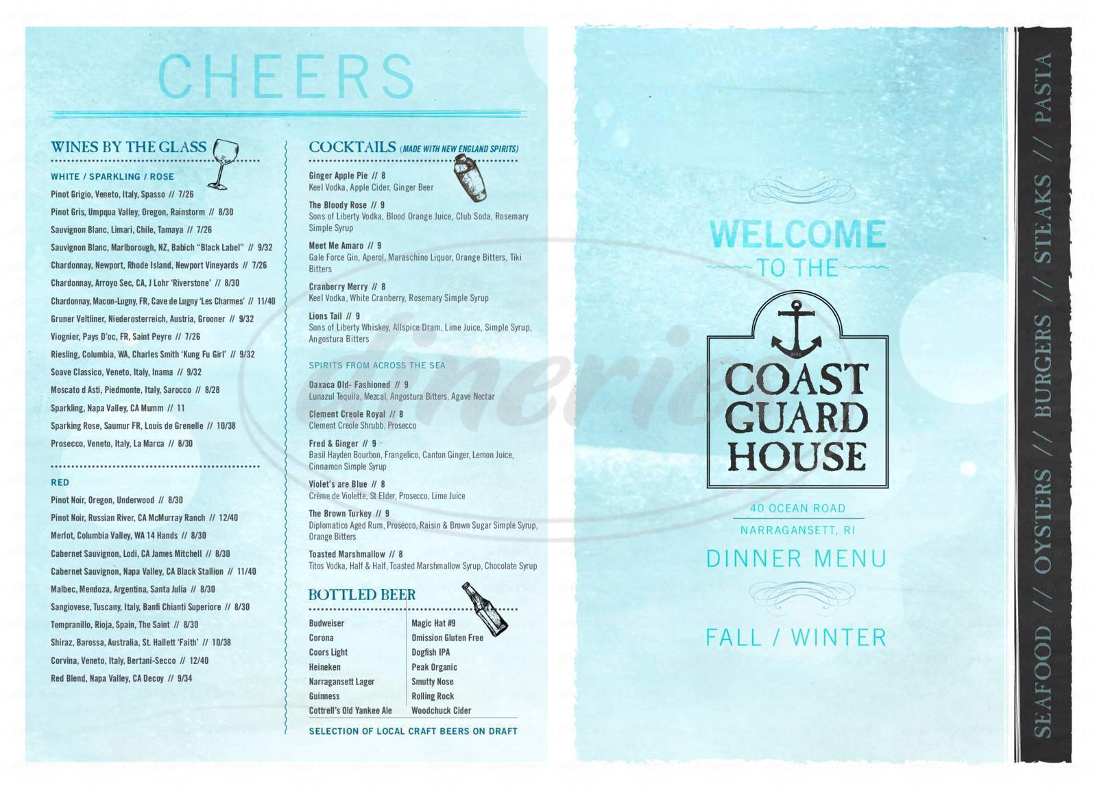 menu for Coast Guard House