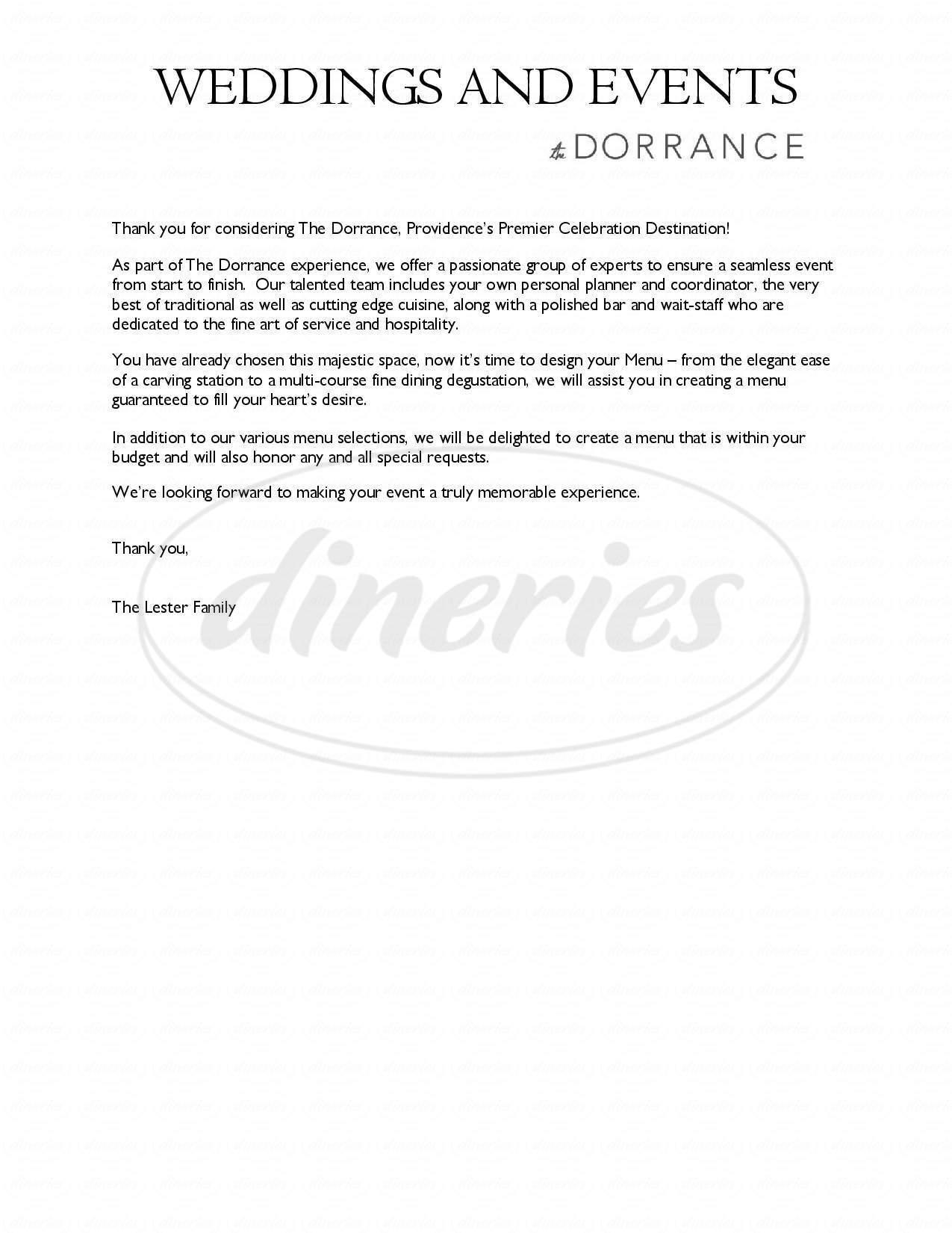 menu for The Dorrance