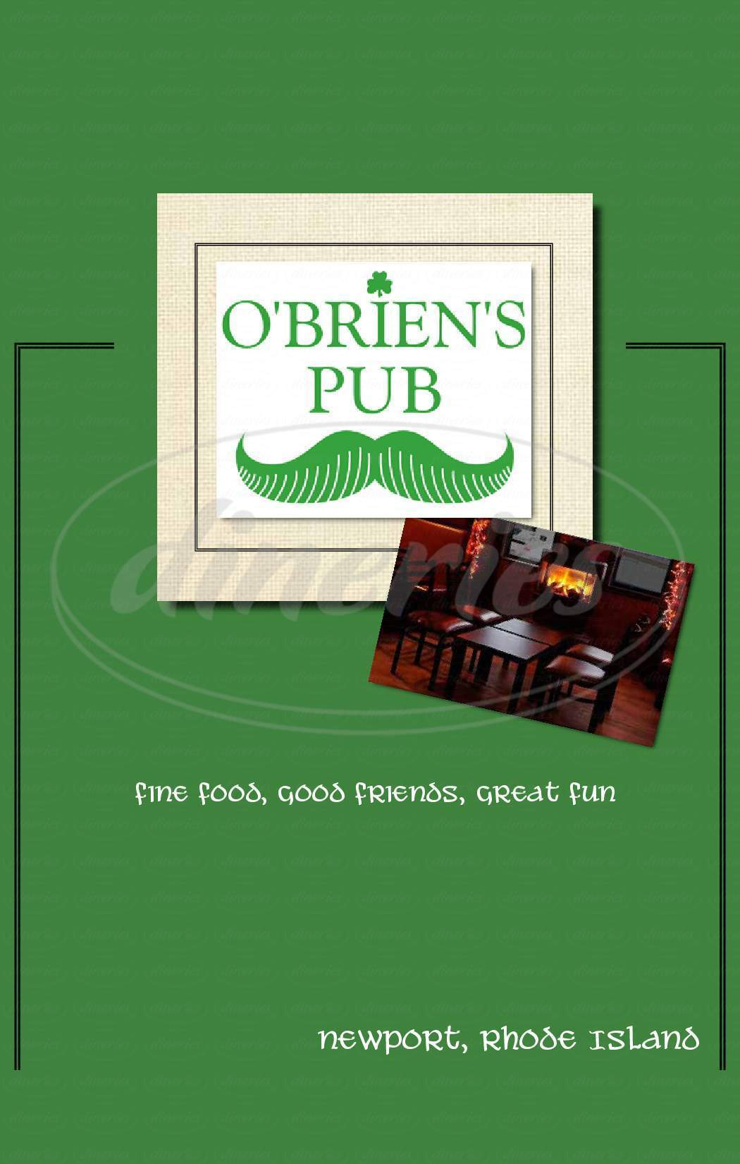 menu for O'Brien's Pub