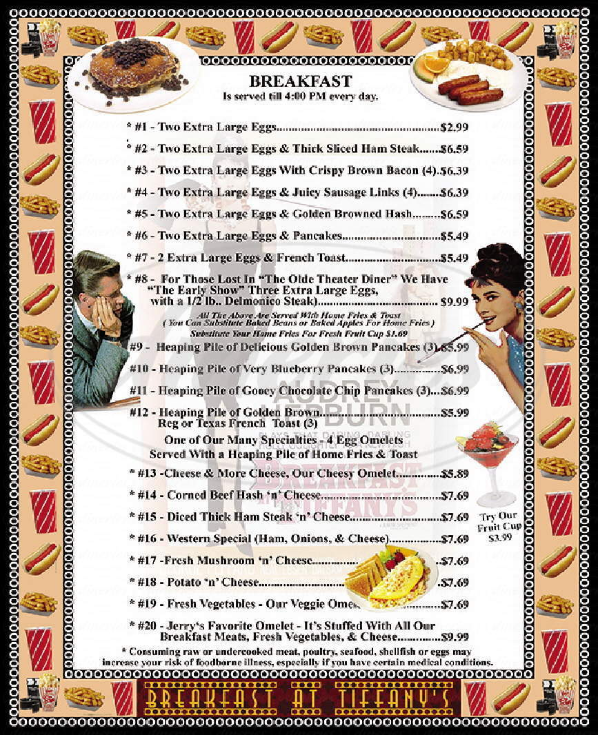 menu for The Olde Theater Diner