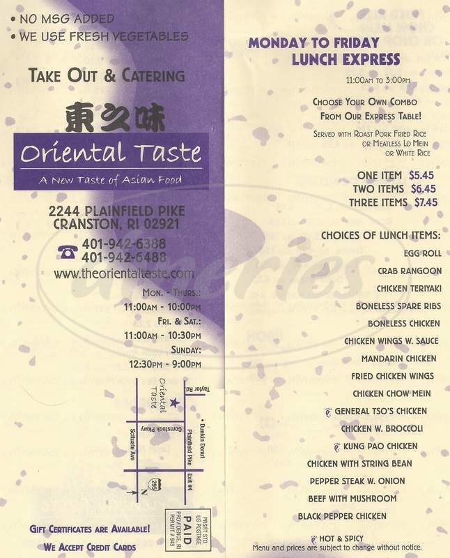 menu for Oriental Taste