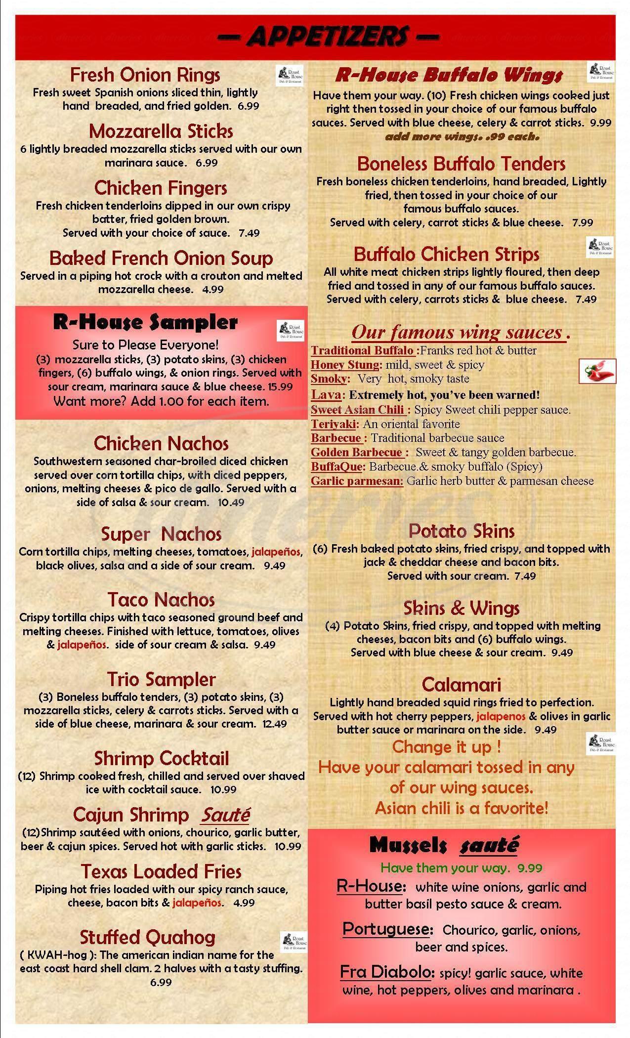 menu for The Roast House