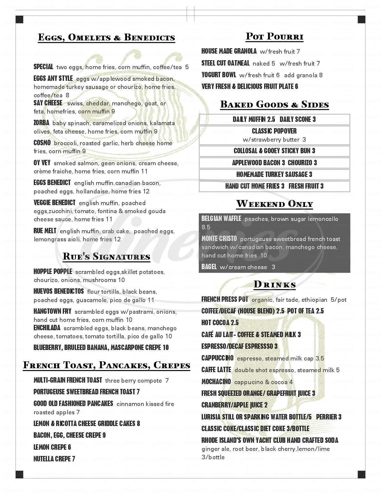 menu for Rue De L'espoir