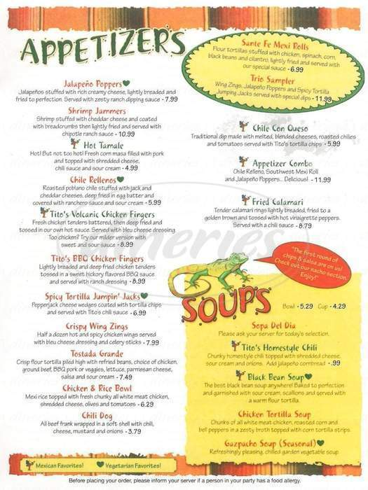 menu for Tito's Cantina Mexican Grill