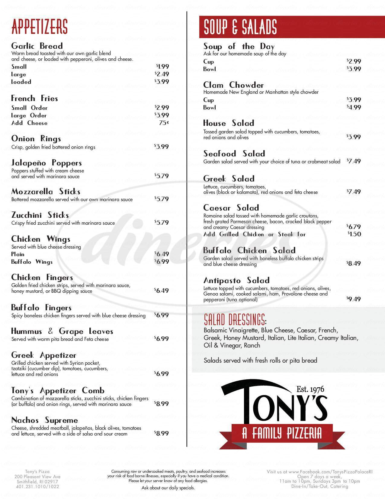 menu for Tony's Pizza Palace