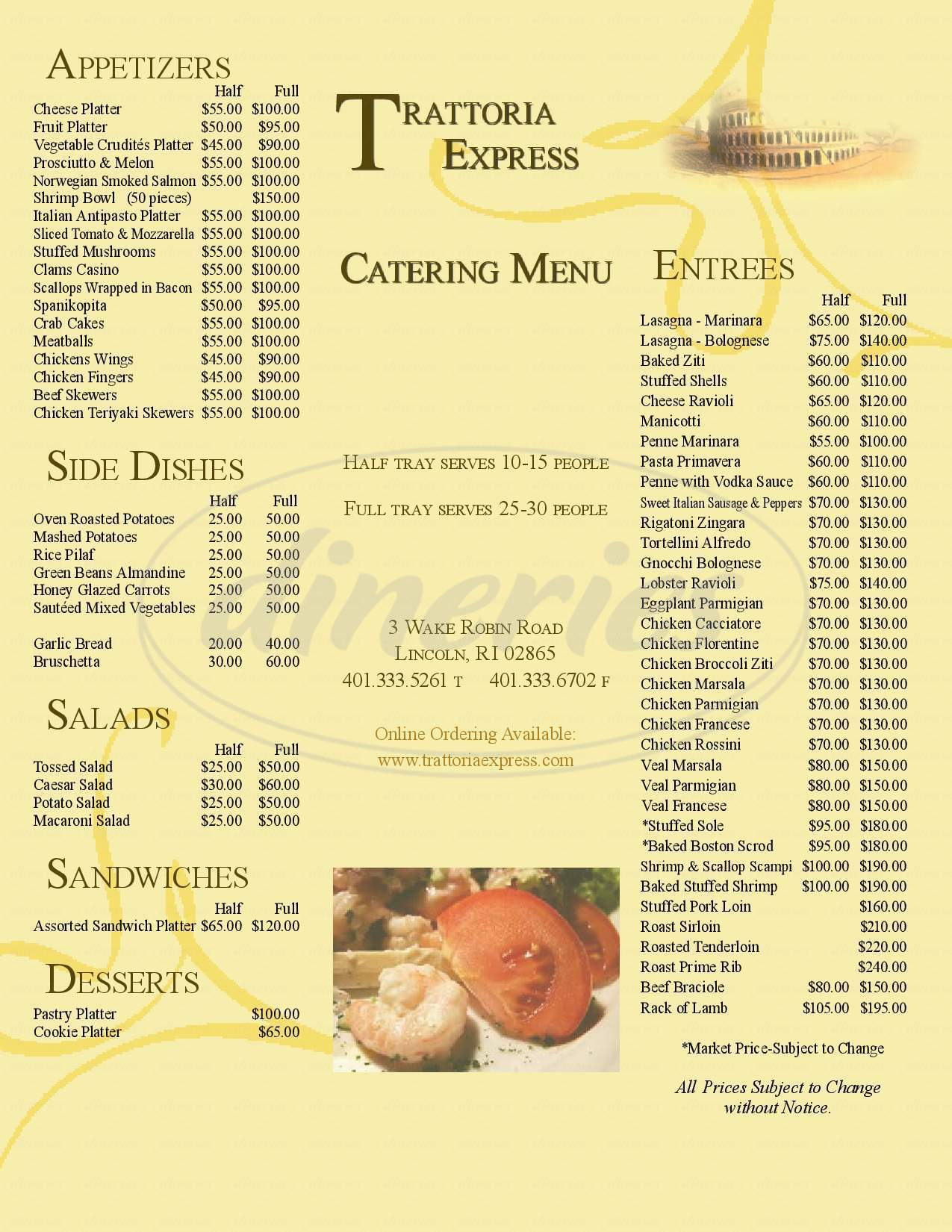 menu for Trattoria Romana Bar and Grill