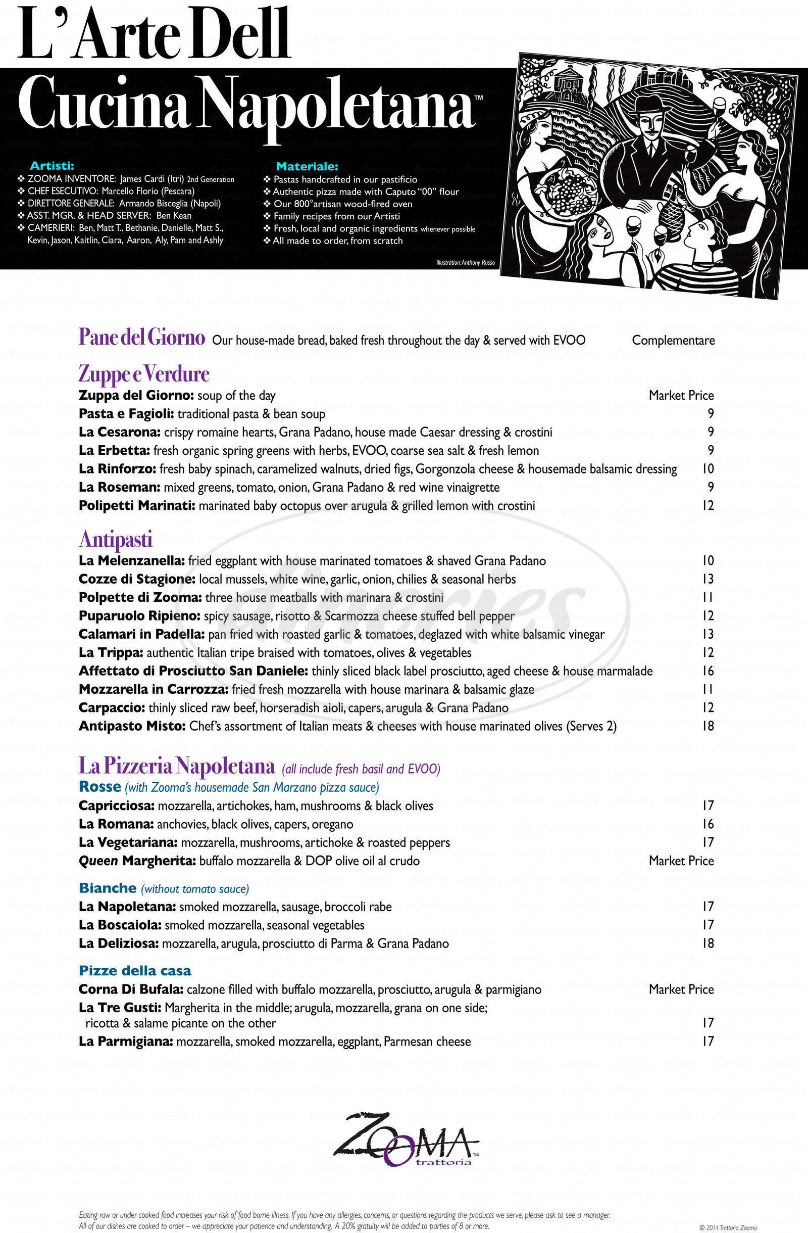menu for Zooma Trattoria