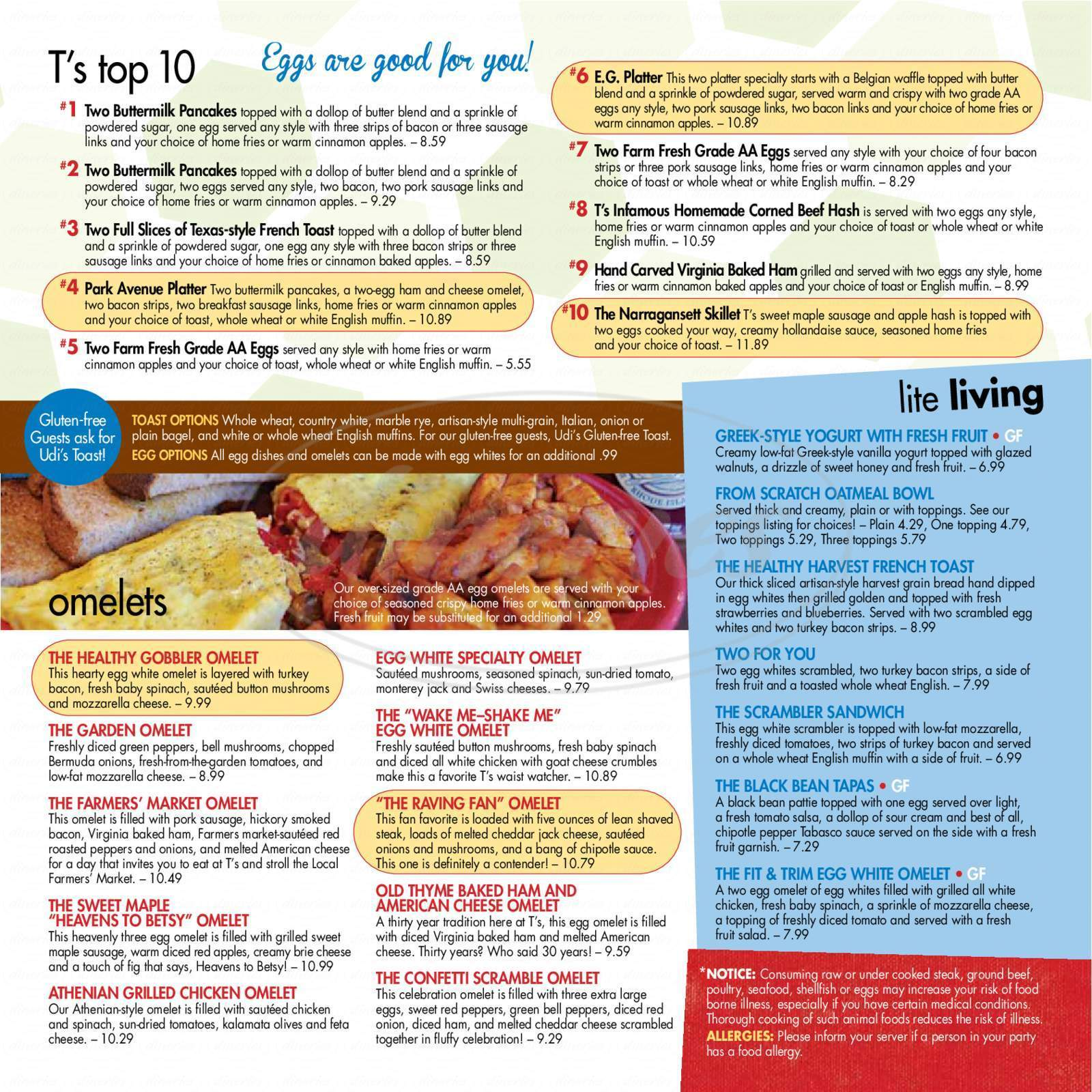 menu for T's Restaurant