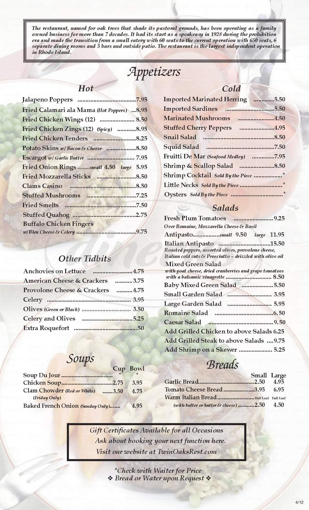menu for Twin Oak's
