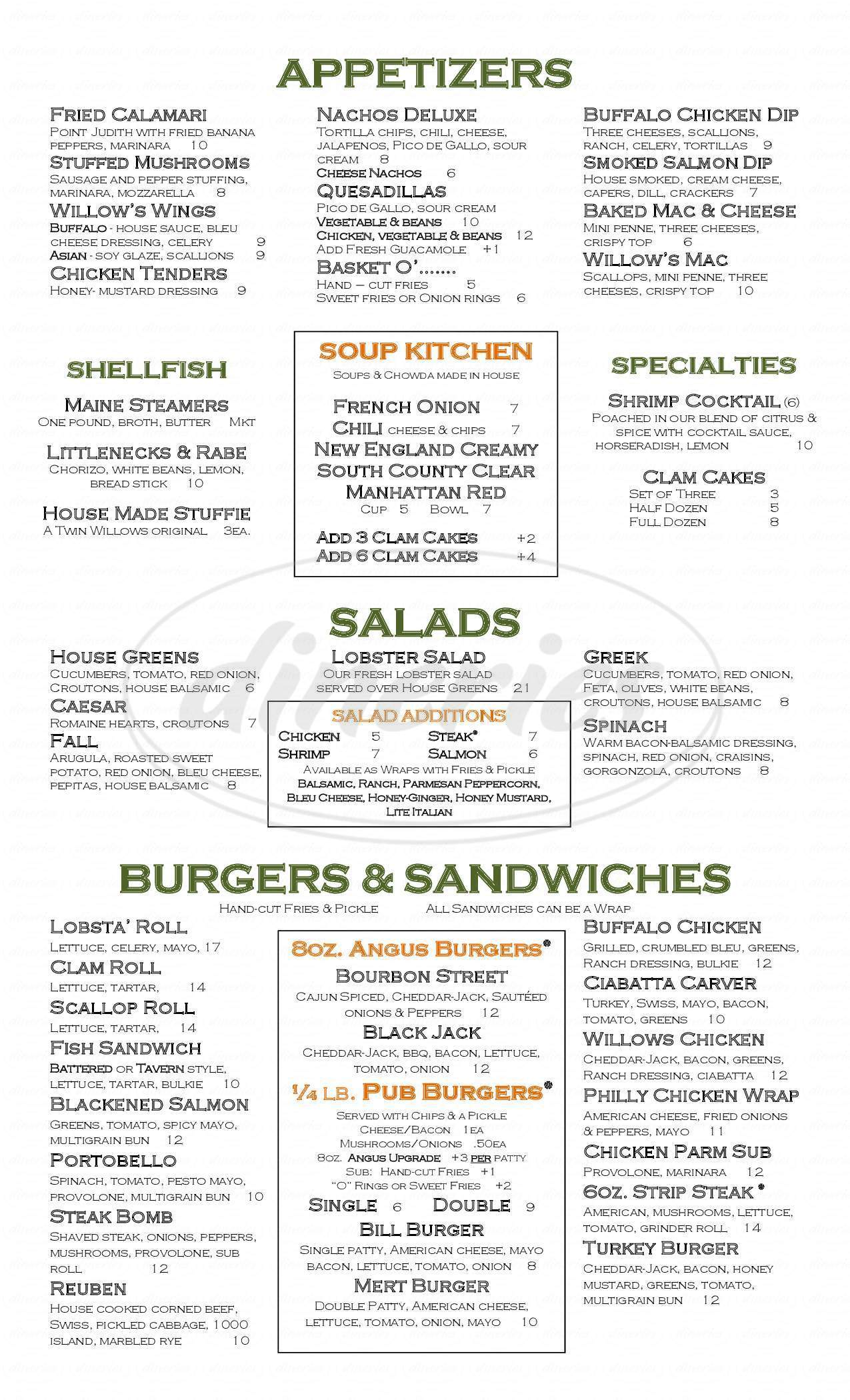 menu for Twin Willows