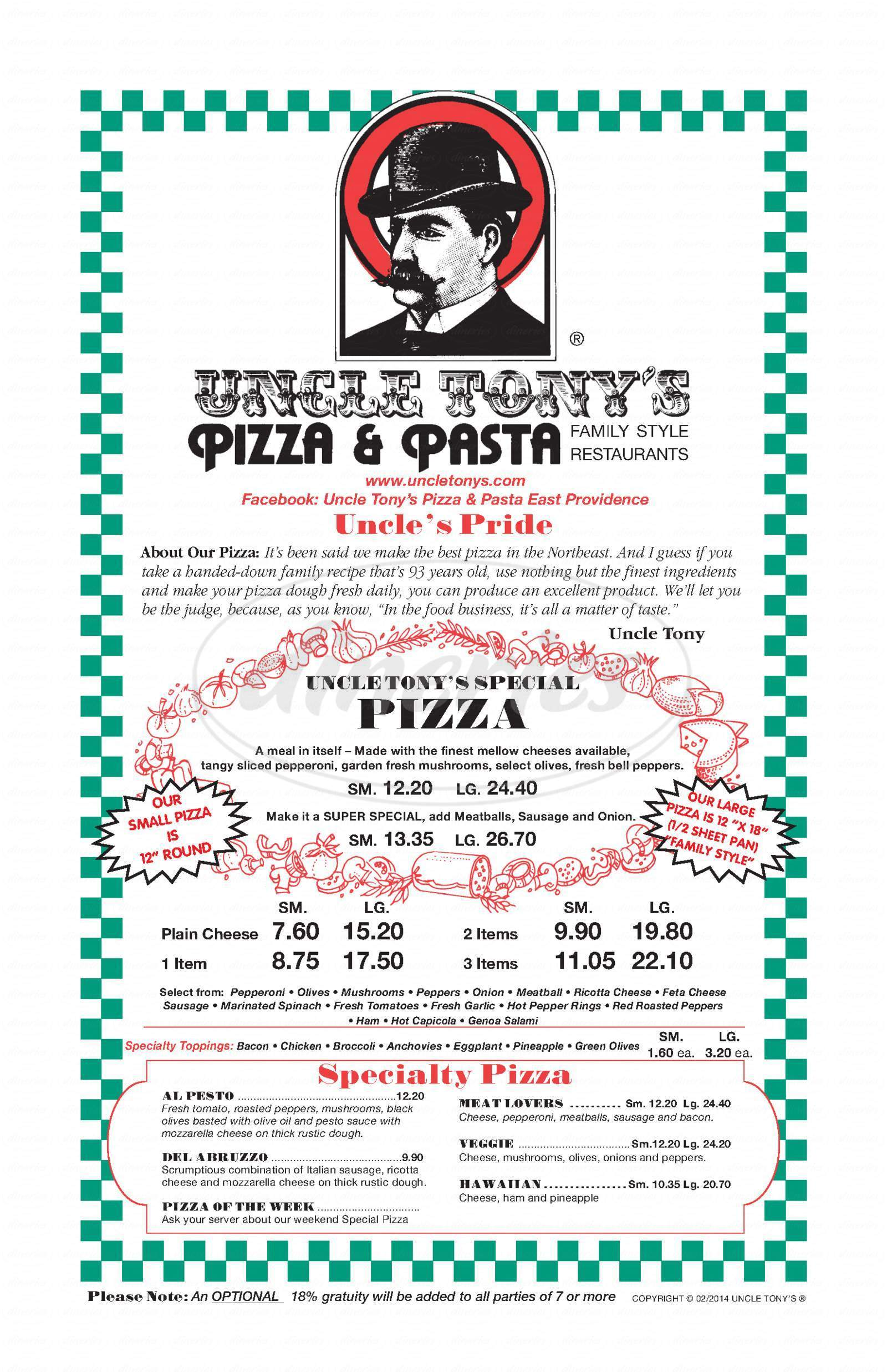 menu for Uncle Tony's Pizza & Pasta