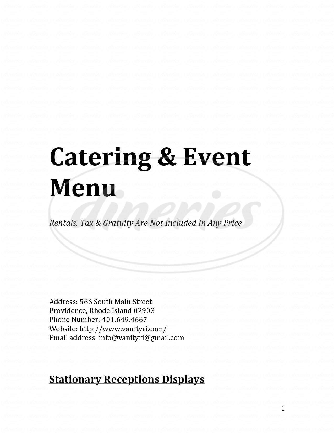 menu for Vanity