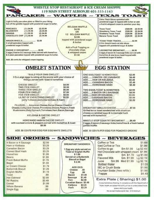menu for Whistle Stop Restaurant & Ice Cream Shoppe