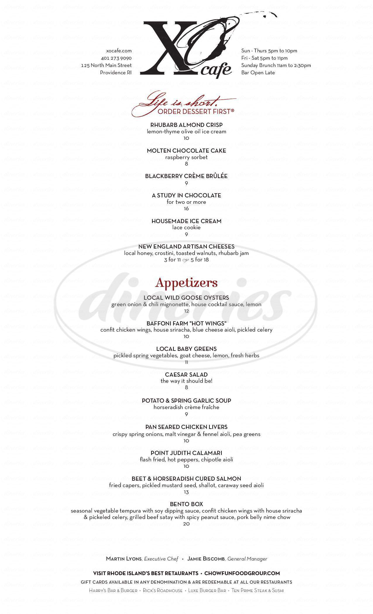 menu for XO Café