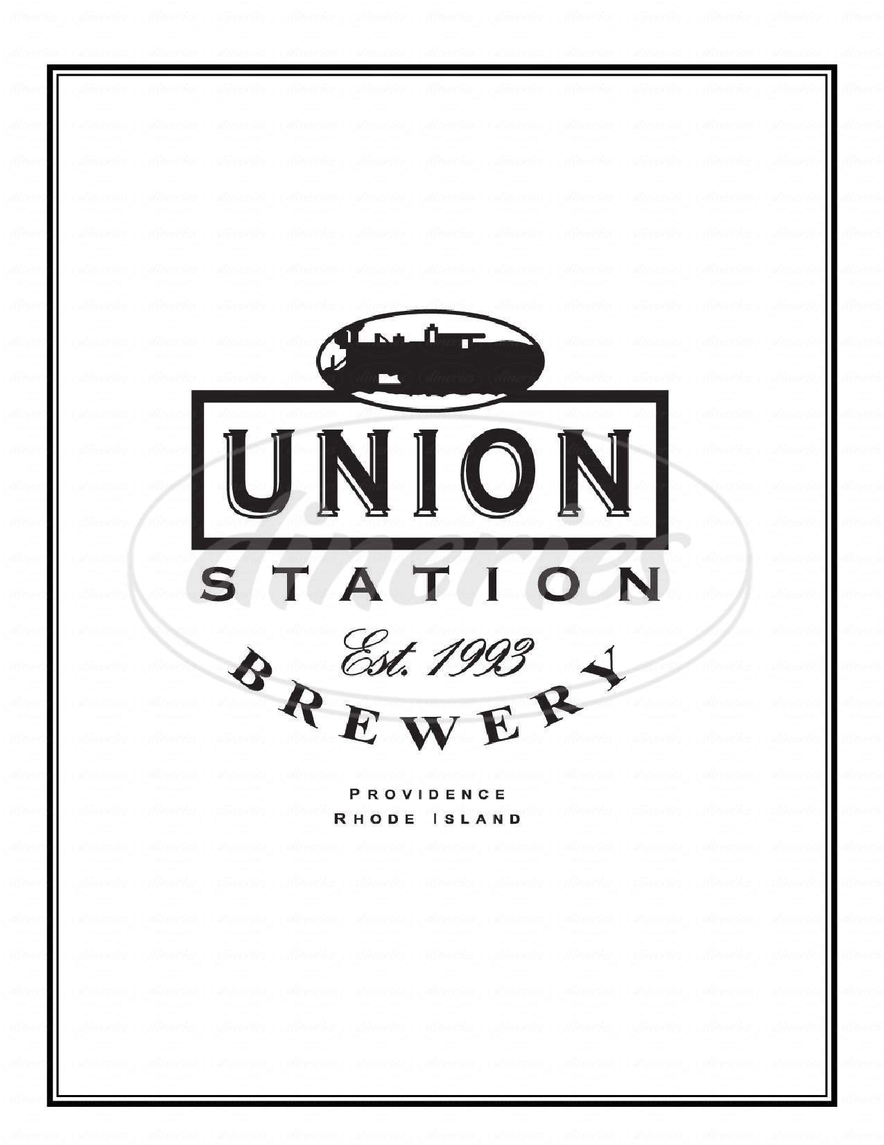 menu for Union Station Brewery Providence