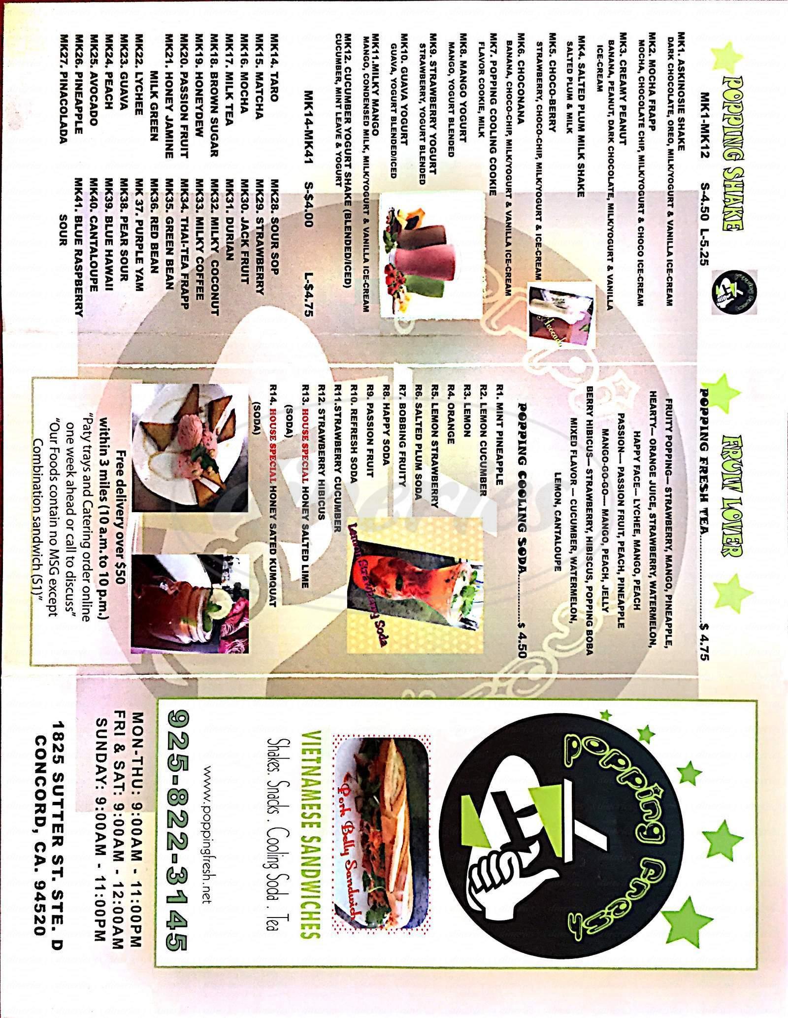 menu for Popping Fresh