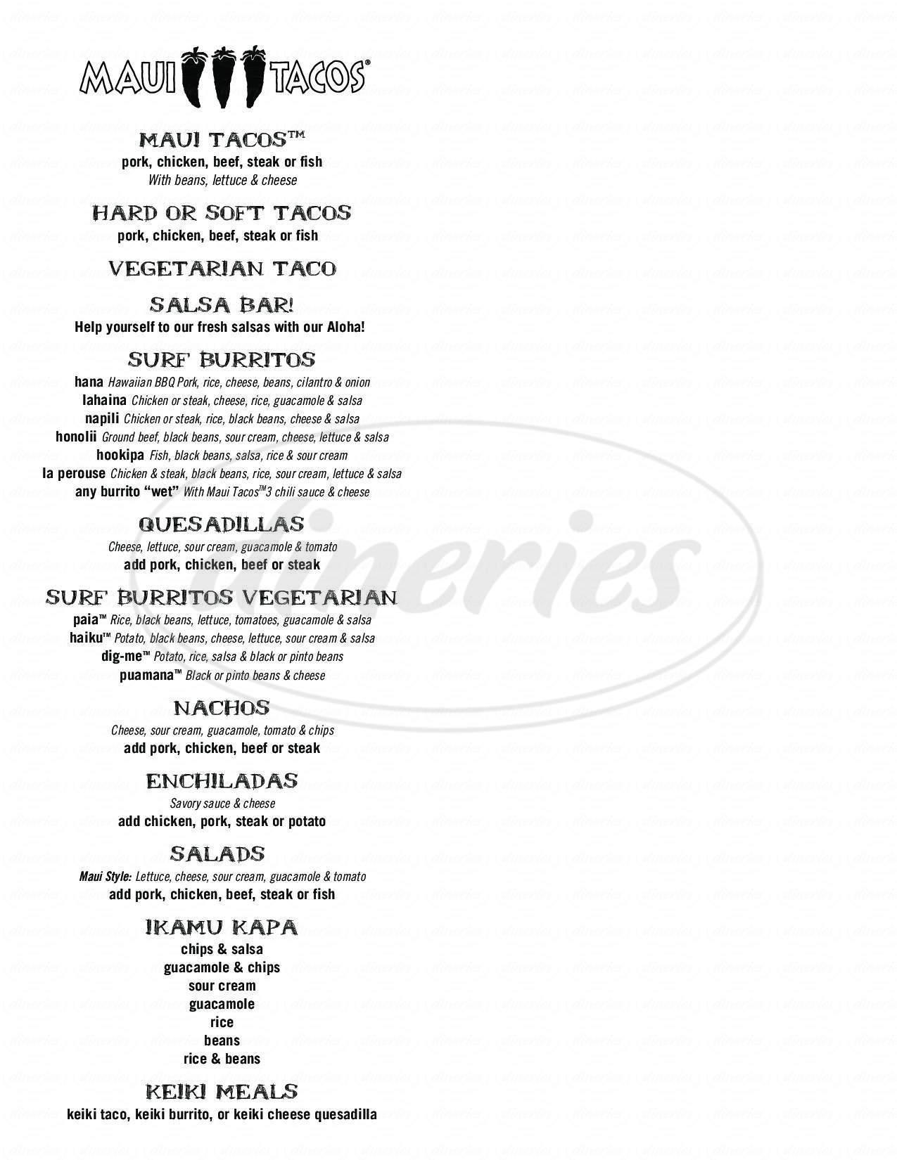 menu for Maui Tacos