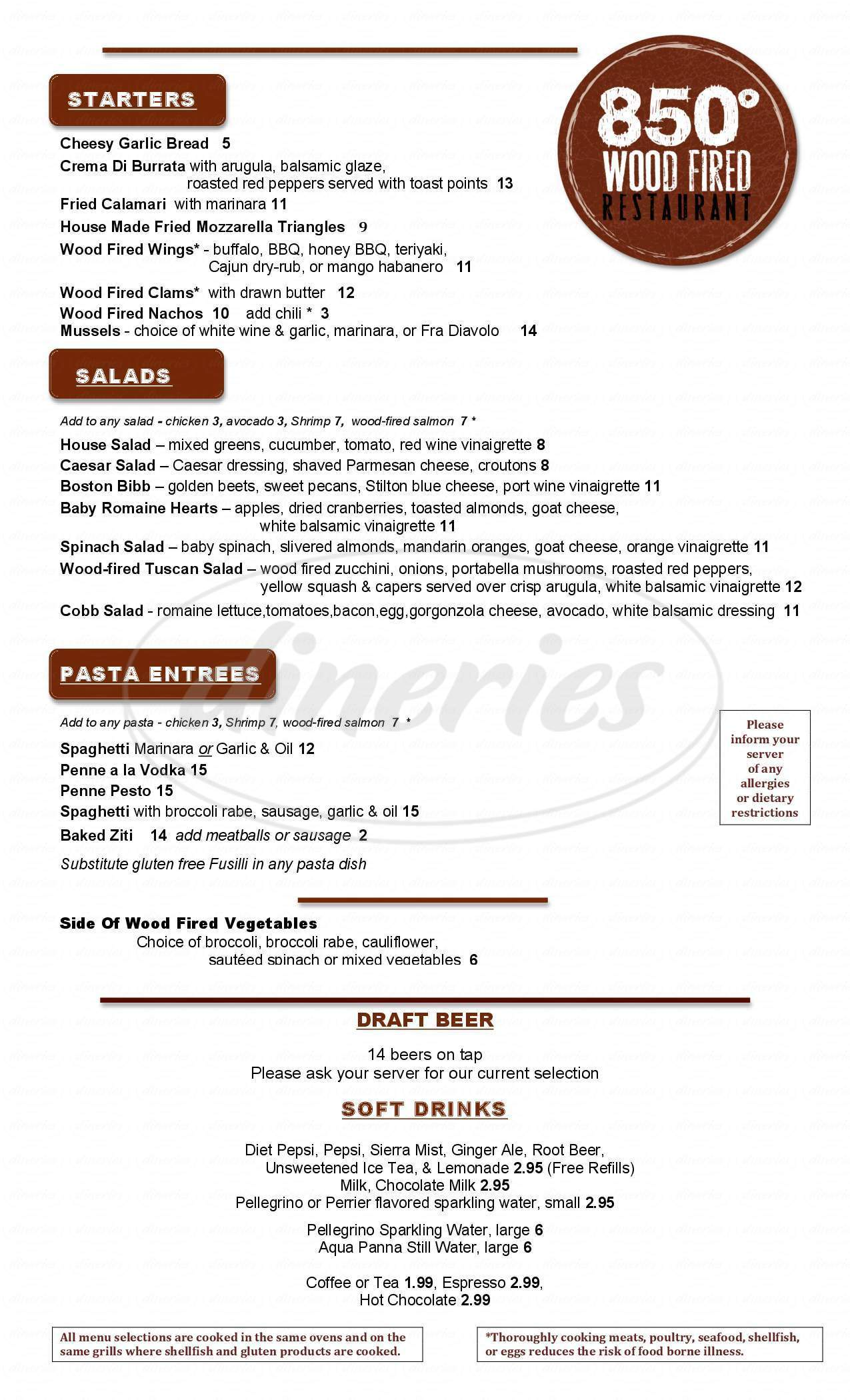 menu for 850 Wood Fired Pizza